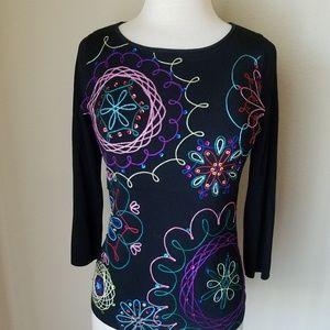 Tops - Sweaterworks Black Embroidered Scoop Neck Top